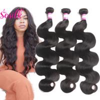 Precio de La india al por mayor del pelo natural-Peruvian Virgin Hair Wave Body So Silk Hair Product Peruvian Brazilian Body Wave 3 paquetes de pelo corto de cabello humano al por mayor Bulk Waev