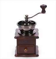 Wood bean herb - Vintage Manual Coffee Grinder Maker Mini Wooden Design Retro Conical Burr Portable Hand Bean Spice Herb Mill New