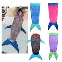 Wholesale Mermaid Blanket Towel Envelopes For Kids bedding Shark sleeping bag Soft Animal Pajamas Children s quilt Shark Blanket b611