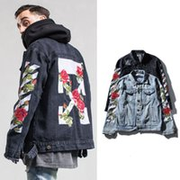 Wholesale Autumn Winter Original Brand Mens Retro Slim Fit Denim Jeans Jacket Male Vintage Casual Outdoor Coats hombre Hip Pop Streetwear Oil Painting