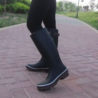 Women black wellies - by UPS top quality new women tall knee high style rubber rainboots Welly rain boot water shoes for adult Hot sale
