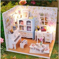 Plastics Doll House u003e 6 Years Old Wholesale- 2016 New Doll House Furniture  DIY Miniature Dust Cover 3D Wooden