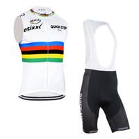 achat en gros de kit de cyclisme sur quick step-2017 Etixx Quick Step sans manches en vélo Jerseys + cyclisme Shorts Kits VTT Maillot Ropa ciclismo men Vêtements de cyclisme D0805