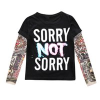 Wholesale INS Kids Autumn Baby Clothes Boys Girls Long Sleeve T shirt Patchwork Hip Hop Fashion Tattoo Sleeve Tops Tees Children Kids Clothing