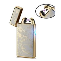Wholesale 2017 New Double Arc Pulse Ligthers Novelty USB Electronic Cigarette Lighters Windproof Cross Arc cigaret lighter Eco Friendly