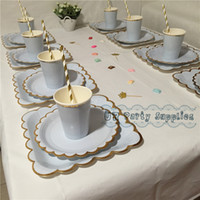 baby shower straws - sets Foil Gold Party Tableware Vintage Party Plates Cups Straws Cocktail Napkins Bachelorette Baby Shower Bridal Wedding Decor