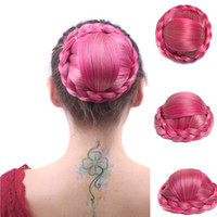 Compra Postizos rosa-Sara Pink Hair Bun Chignon moda Hairpieces mujeres Chignon accesorios sintéticos del pelo 82g 13 * 6CM