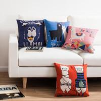 alpaca throws - Cute comic Black White Alpaca Old couple pedant Flower decorative throw pillows linen cotton cushion case couch almofada for sofa home décor