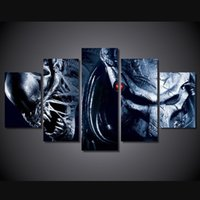 alien movie art - 5 Set Framed HD Printed Alien Wars Alien Movie Picture Wall Art Canvas Print Room Decor Poster Canvas Modern Oil Painting