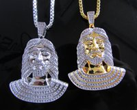 Wholesale free quot box chain high quality hip hop bling iced out cool men jesus pendant necklace