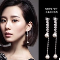 Wholesale chaming silver inlay diamond pearl lady s earings sdfd