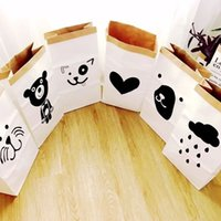 Wholesale hot sale Popular Heavy Kraft Paper Bag Children Room Organizer Bag Storage Bag For Toy And Baby Clothings