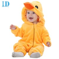 animals duck - IDGIRL Hot Baby Boy Clothes Cotton Flannel Quilted Jumpsuit Cartoon Animal Yellow Duck Baby Rompers Girl Baby Clothing MM0313