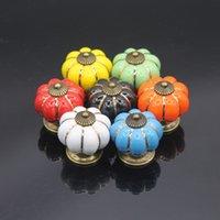 Wholesale kitchen Pumpkins Handles Pull Drawer Knobs Coloured Porcelain Cupboard Drawer Knobs