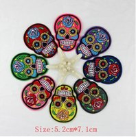 Wholesale 10pcs skull patch Iron On Patches Clothes DIY Flowered Skull Embroidered Patches For Clothing Fabric Badges Sewing Patches