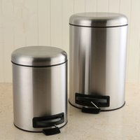 Wholesale Round Brushed Stainless Steel Step Trash Can L Fingerprint Resistant