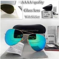 Revisiones Espejo de cristal clásico-AAAA + Gafas de sol de los hombres de las mujeres de la calidad de los vidrios de sol los 58MM los 62MM de cristal de la lente Diseñador clásico de la vendimia de la manera del espejo unisex las lentes con la caja