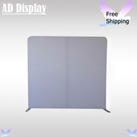 Wholesale 8ft Straight Blank Backdrop Wall Exhibition Booth Portable Tension Fabric Banner Advertising Display Stand With White Fabric