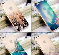 beautiful hardness - Fashion colors Luxury Ultra thin Mirror Transparent back cover casing with scenery pattern for iPhone s plus Beautiful and practical