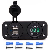 Wholesale Waterproof Dual USB Charger Adapter A A V V LED Voltmeter Panel for Motorcycle Car Boat Marine carvan Blue Green Red