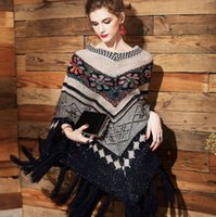 Wholesale V Neck Fashion Cape Shawl Tassel Sexy Pullover Womens Poncho Hollow Out Sweater Bohemia Autumn Capes And Ponchoes Fashion Design Pashmina