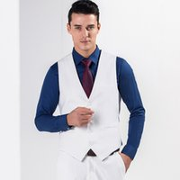 Wholesale 2017 White Color Men Men s Fitted Leisure Waistcoat Casual Business Jacket Tops Three Buttons Suit Dress Vests