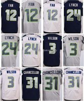 Wholesale Mens Football Jerseys Russell Wilson Fan Marshawn Lynch Kam Chancellor Stitched Elite Jersey College Navy White Gray