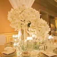 beautiful arrangements flowers - Beautiful cm Length Artificial Silk Phalaenopsis Butterfly Orchid Leaf Pot Flower Arrangement For Wedding Birthday Decoration