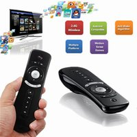 Wholesale T2 Mini Fly Air Mouse GHz Multi function Gyro Sensing Wireless Keyboard For Windows OS Android Linux For Android TV Box PC NEW