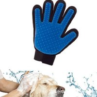 Plastic bathing gloves - Clean Five Finger Deshedding Pet Glove True Touch For Gentle Massage Glove Bath Dog Cat Home Brush Comb with Retail Box cr