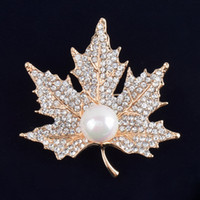 China-Tibet american invitations - Vintage Rhinestone Brooch Pin Gold plate Alloy Pearl Leaf Jewelry Broach corsage for bridal wedding invitation costume party dress pin gift