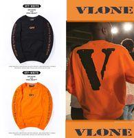 Wholesale 2016 New Winter warm Off White VLONE fleece Hoodies Men hoodie Sweatshirt High Quality Big V Off White VLONE Hoodies clothing HOT
