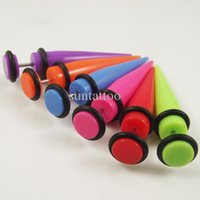 Wholesale 100pcs Candy color mm Fake Ear Taper Stretchers Acrylic Body Piercing Jewelry