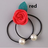 Wholesale Camellia hair bands rose flower head rope The great pearl string cute hair rope baby girls hair rubber bands