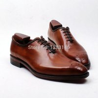 Lace-Up bespoke leather - Bespoke Handmade Genuine Calf Leather Upper outsole Insole Brown Goodyear Craft Square toe Men s Shoe No ox601
