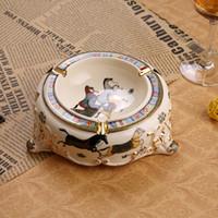 Wholesale Porcelain ashtray ivory porcelain sizes god horse design outline in gold round cigarette ashtray luxury ashtray business gifts