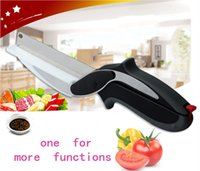 Wholesale Clever Cutter in Stainless Steel Kitchen Scissors with Sharp Knife Blade Cutting Board Kid Food Cutter for Meat Vegetable