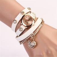 Precio de Cuero reloj pulsera corazón-Corea Popular Joyas Corazón Reloj Pulsera Mujeres Moda Rhinestone Cuero Relojes Reloj Reloj Mujeres Relogios Femininos