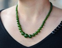 Wholesale Beautiful Chinese Natural Handcraft HeTian Jade Green Jade Necklaces gd4234