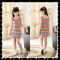 achat en gros de rainbow stripe cotton dress-Vêtements pour enfants Vêtements d'enfant Rainbow Stripes Summer Girl Dress 100% coton 3-14 ans Robes de survêtement pour enfants pour adolescentes