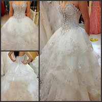 Wholesale Gorgeoud Tiered Skirts Wedding Dresses White Luxutry Crystal Sequins Sweetheart Sleeveless Open Back Sweep Train Bridal Gown New