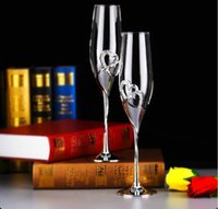 Wholesale 2pcs set Crystal Wedding Toasting champagne flutes Glasses Cup Wedding Party marriage decoration cup for Gift Wine Drink WA1497