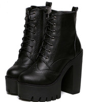 Half Boots ankle bootie shoes - Punk Gothic Rock Women Boots Platform High Top Leather Lace Up Side Zip Ankle Boots Short Bootie Creepers Wing Tip Shoes Broques