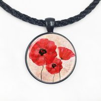 american fields - Glass Dome Pendant beautiful Red Poppy Necklace Field Of Poppies Flowers Floral Art Glass Picture Pendant