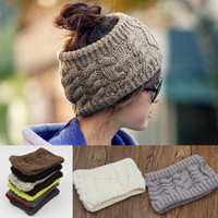 band twist - Women knit headbands Headwrap Twist Hole Beanies Warm Hair accessories Girls Winter Wide colors bands for running hotsale European