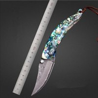 Wholesale Hot sale top quality shell handle Damascus blade Folding knife gift knife collection knife camping Tools FK A017