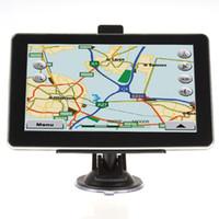 achat en gros de écrans de navigation gps pour voitures-7 pouces de voiture Navigation GPS Navigateur MTK 256MB 4GB / 8GB avec Bluetooth AV FM Multilingue Win CE Nouvelle carte ou écran capacitif