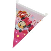 Wholesale Cute Minnie cartoon birthday Party Pennants Paper Flag Banner indoor outdoor Decoration supplies pack including small flags