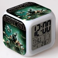 Wholesale Star Wars Rogue One Digital Alarm Thermometer Night Glowing Cube Colors Clock LED Change LCD Clock