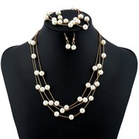 Wholesale Imitation Pearl Jewelry Sets Three Vintage Ethnic Statement Behomian Circle Multi Layer Choker Necklace Earrings Bracelet Women Fashion